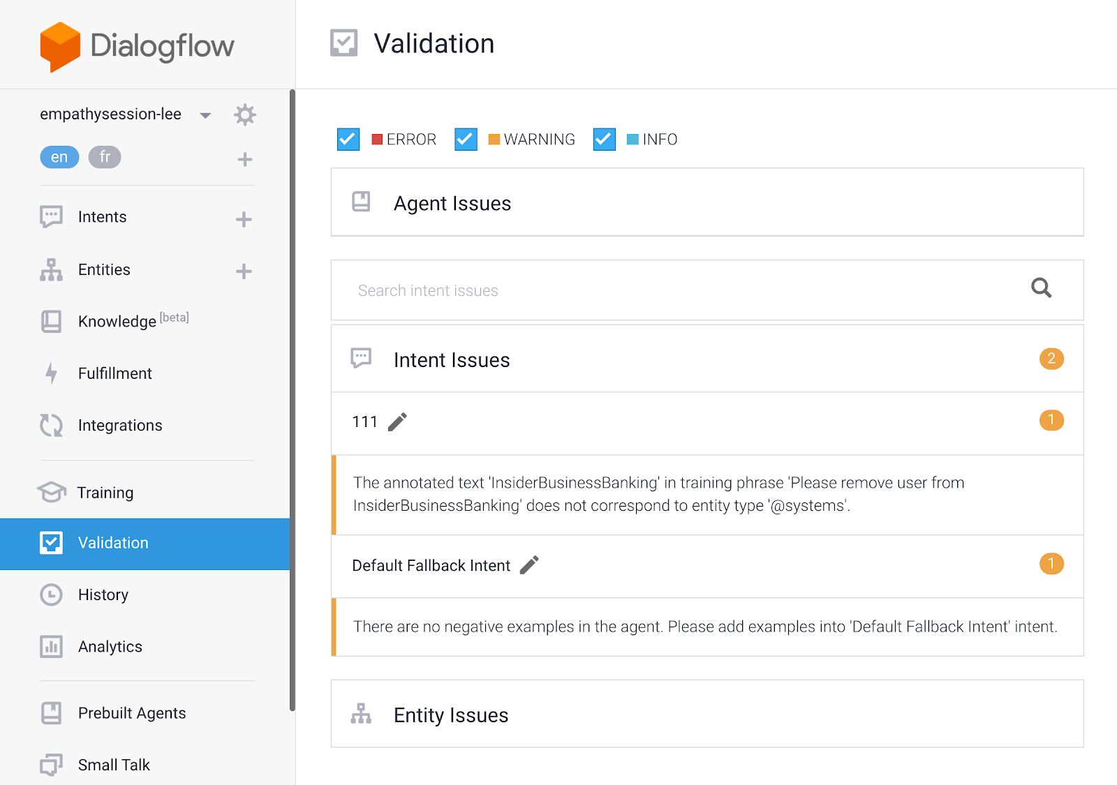 Create high-quality chatbots by making use of agent validation, an out of the box review feature.